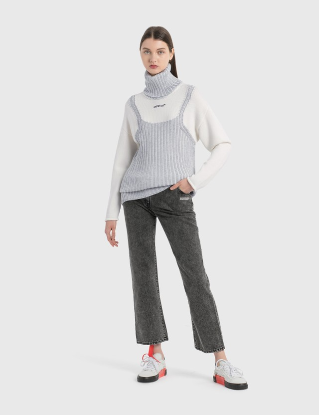 Off-White Optical Illusion Turtleneck Grey Black Women