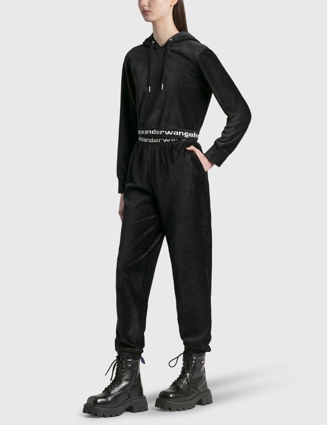 Alexander Wang.T Logo Elastic Hoodie Black Women