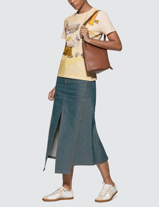 Lanvin Slit Midi Denim Skirt Cloud Women