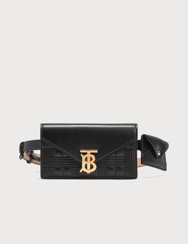 Burberry Belted Quilted Lambskin TB Envelope Clutch