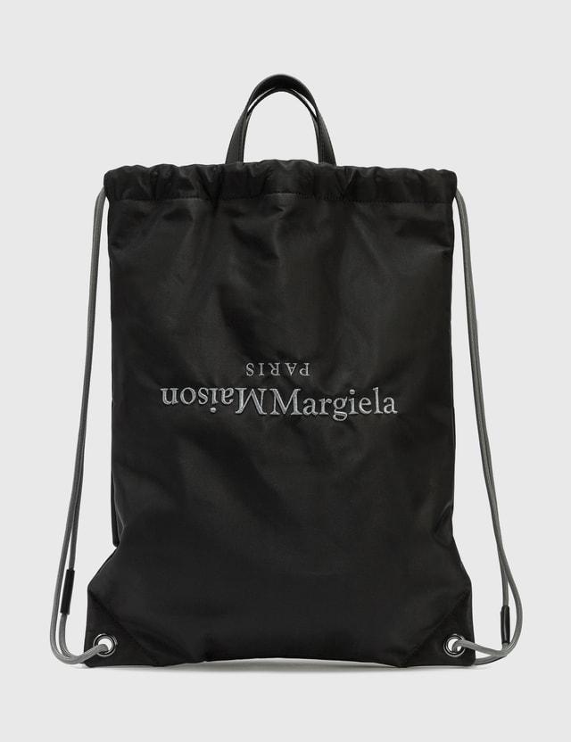 Maison Margiela Nylon Drawstring Backpack Black Men