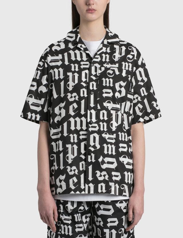 Palm Angels Broken Monogram Bowling Shirt Black White Women