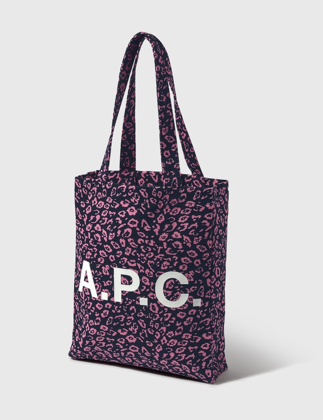 A.P.C. Lou Leopard Tote Bag Iak Dark Navy Women