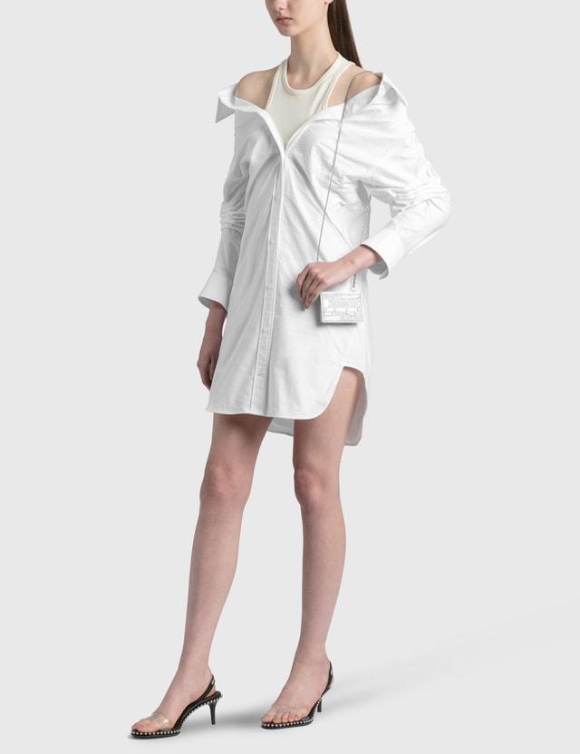 Alexander Wang.T Off-Shoulder Shirt Dress With Inner Tank Bright White Women
