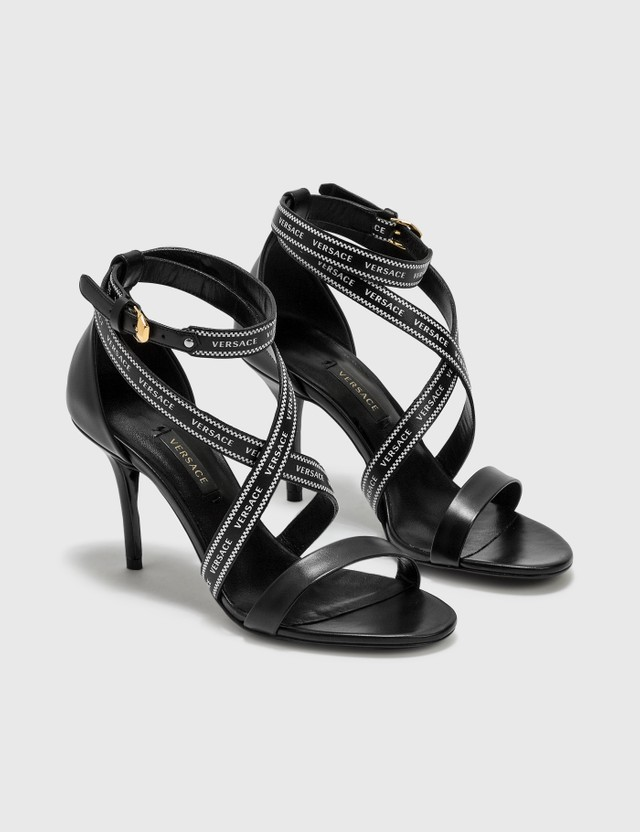 Versace Heeled Sandals With Logo Strap