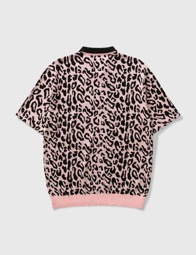 Wacko Maria Leopard Knit Polo Shirt Pink Men