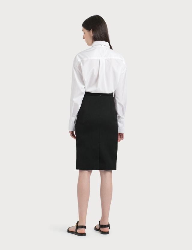 Burberry Grain De Poudre Wool Step-through Skirt Light Pebble Grey Women