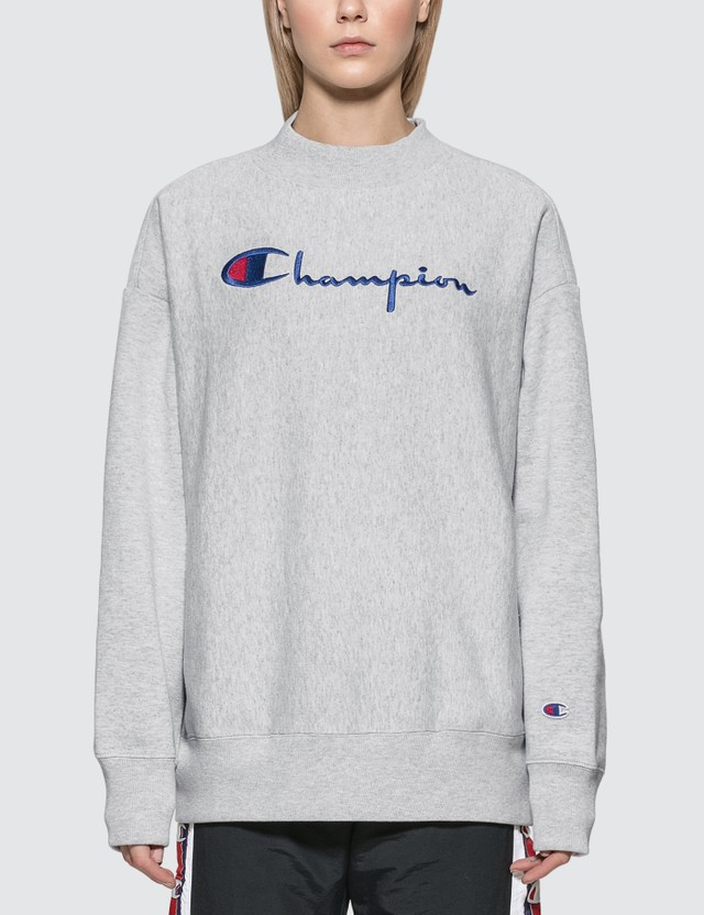 Champion Reverse Weave Big Script Oversized Crewneck Sweatshirt Grey Women