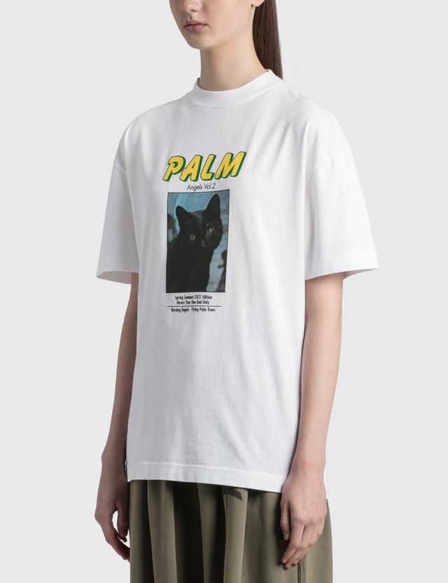 Palm Angels Black Cat T-Shirt White Black Women