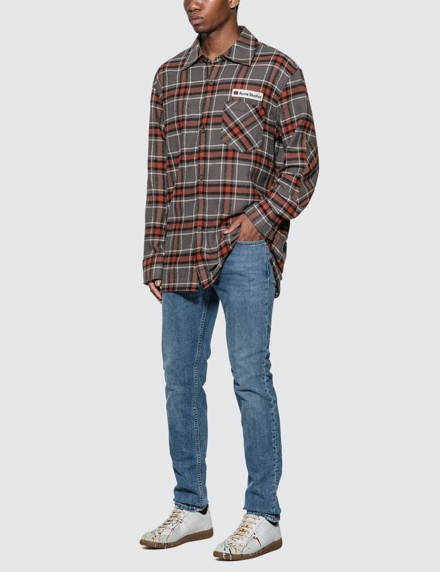Acne Studios Logo Patch Flannel Overshirt