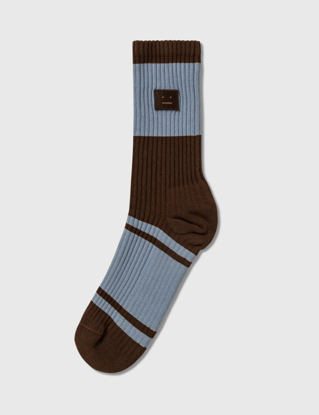 Acne Studios Face Socks Brown/blue Women