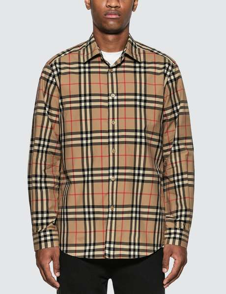 버버리 Burberry Check Cotton Poplin Shirt