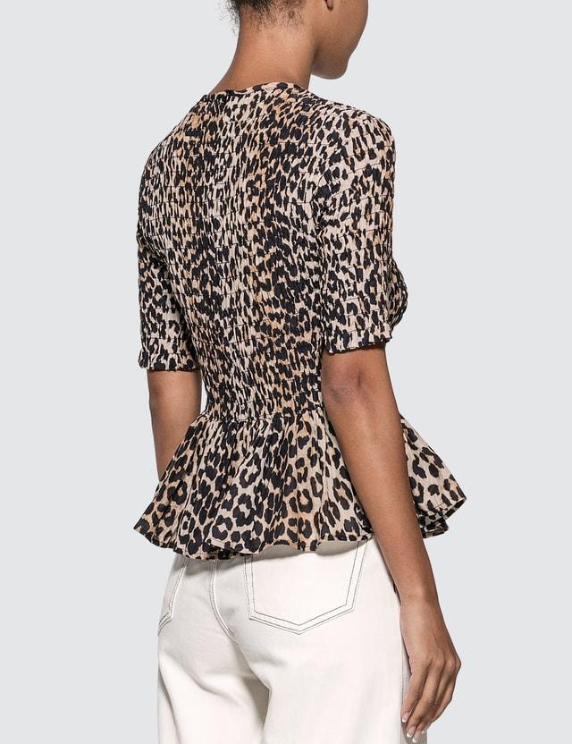 Ganni Leopard Silk Blouse