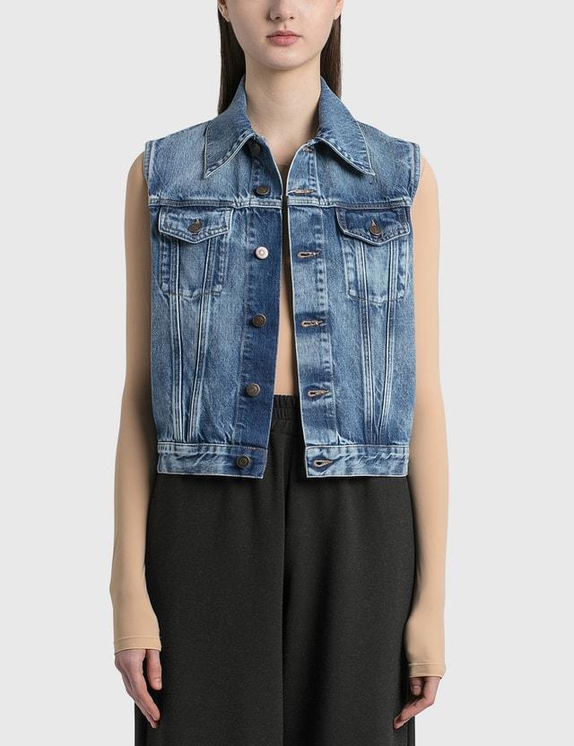 Maison Margiela Sleeveless Recycled Denim Jacket Blu Denim Rec Women