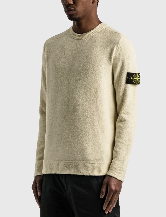 Stone Island Cotton Blend Sweater Ivory Men