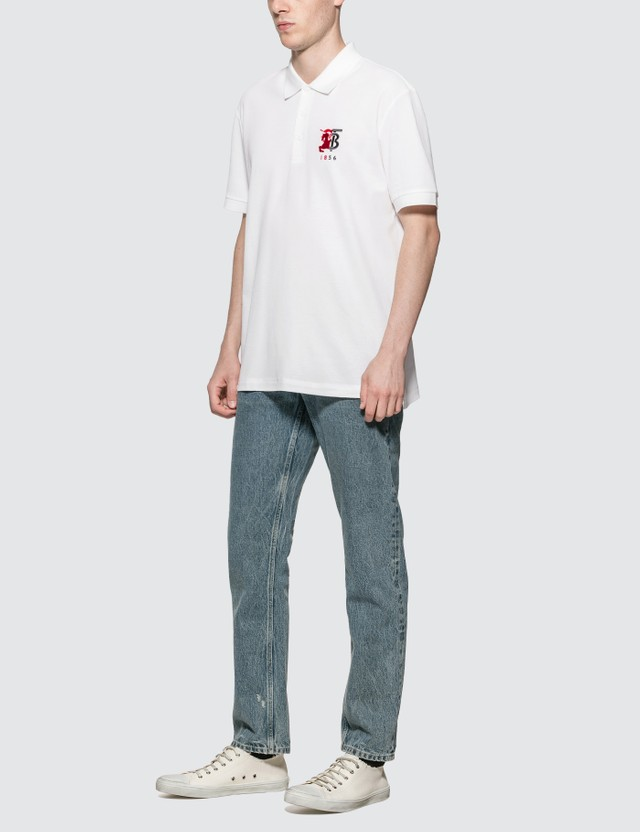 Burberry Contrast Logo Graphic Cotton Piqué Polo Shirt
