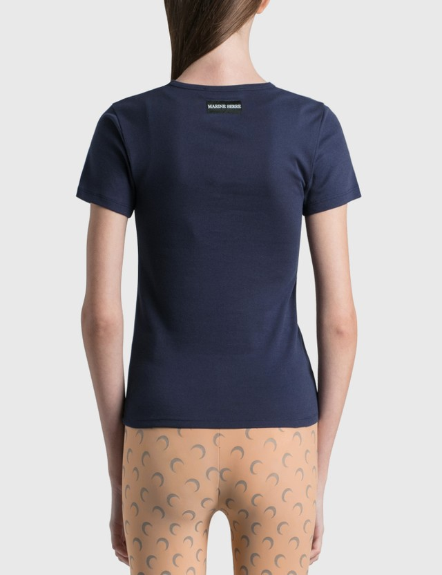 Marine Serre Glaucus Print Mini Fit T-shirt 06 Dark Sapphire Color Women