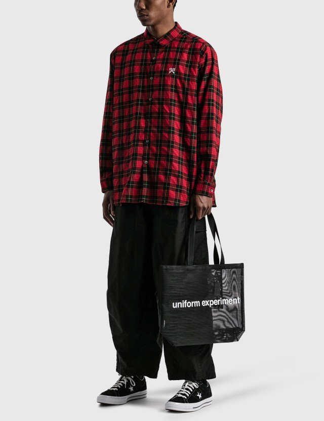 uniform experiment Baggy Regular Collar Check Shirt Red Men