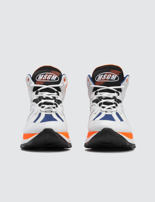 MSGM High Top Chunky Sneakers White + Blue + Neon Men