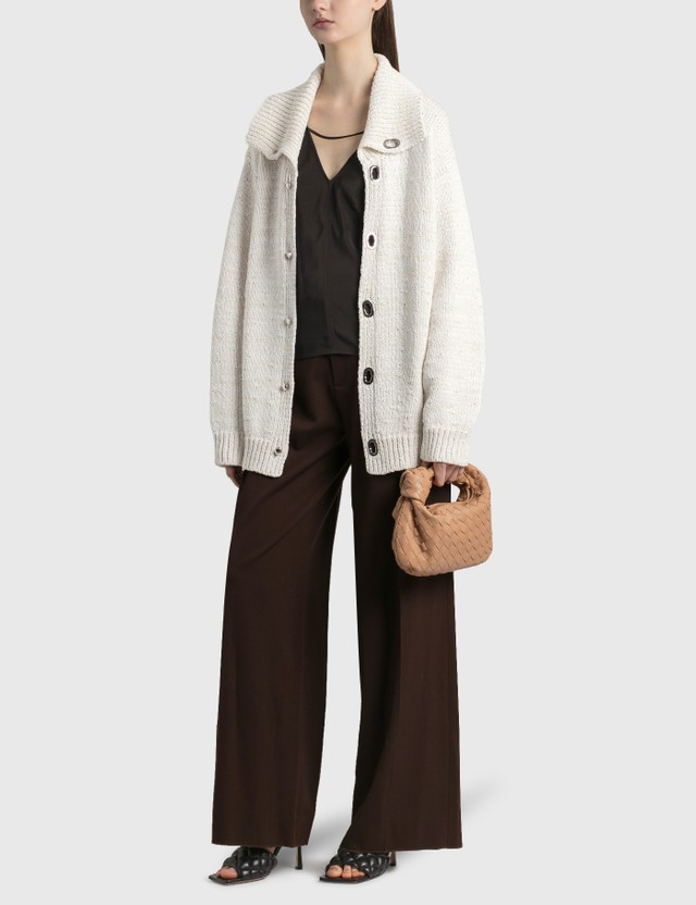 Bottega Veneta Wide Collar Knitted Cardigan Chalk Women