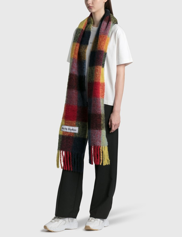 Acne Studios Large Check Scarf Red/yellow/dark Blue Women