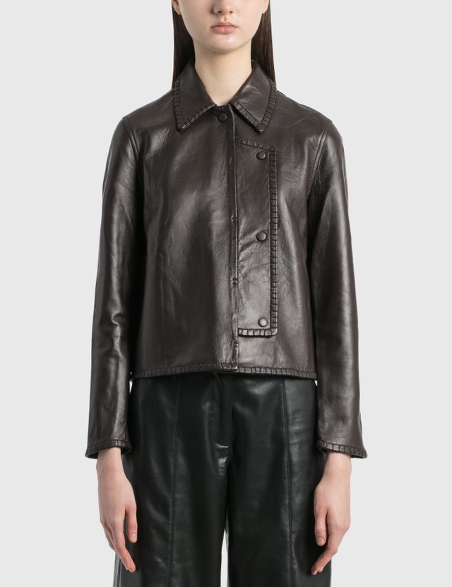 Ganni Stitch Leather Jacket Chicory Coffee Women