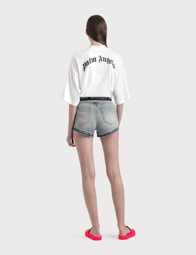 Palm Angels Logo Print Denim Shorts