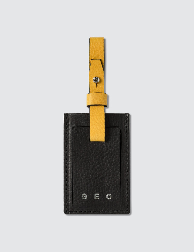 GEO Leather Luggage Tag Black Men