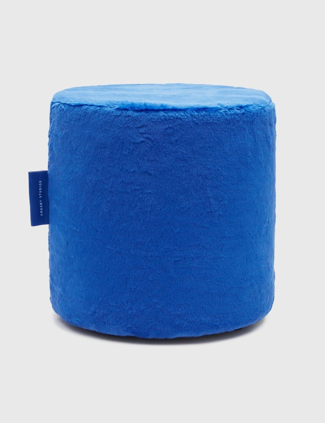 Crosby Studios Blue Plush Ottoman Blue Unisex