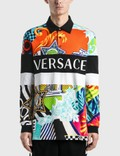 Versace Pop Temple Print Long Sleeve Polo 사진