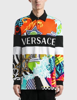 Versace Pop Temple Print Long Sleeve Polo