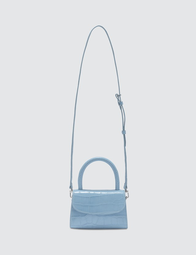 By Far Mini Sky Blue Croco Embossed Leather Bag