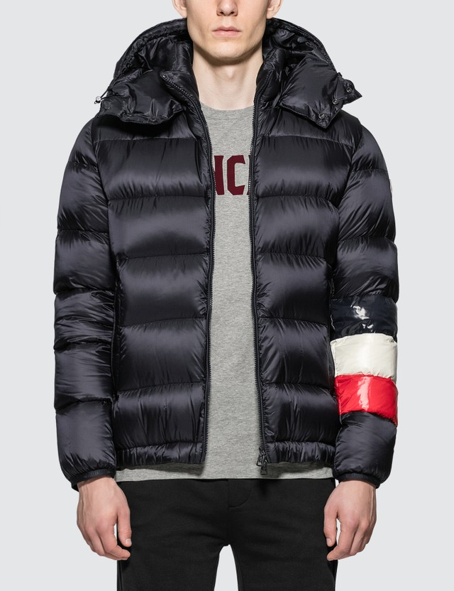 Moncler Nylon Down Jacket with Stripes On Sleeve