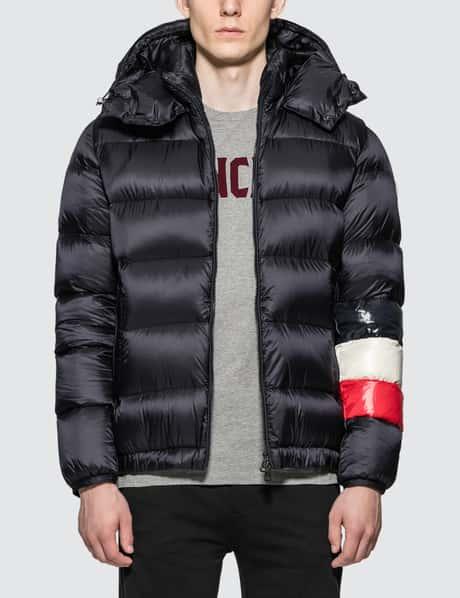 몽클레어 Moncler Nylon Down Jacket with Stripes On Sleeve