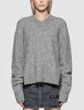 Helmut Lang Brushed V-Neck Tie Sleeve Sweater Picutre