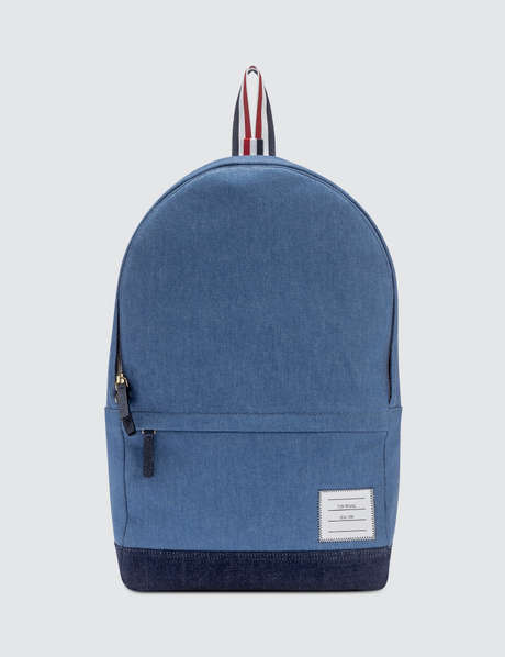 Thom Browne 톰 브라운 Unstructured Backpack In Washed Denim + Pebble Grain