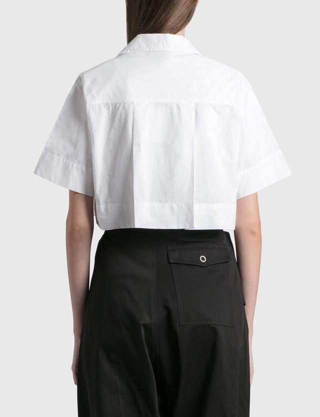 Ganni Cotton Poplin Cropped Shirt Bright White Women