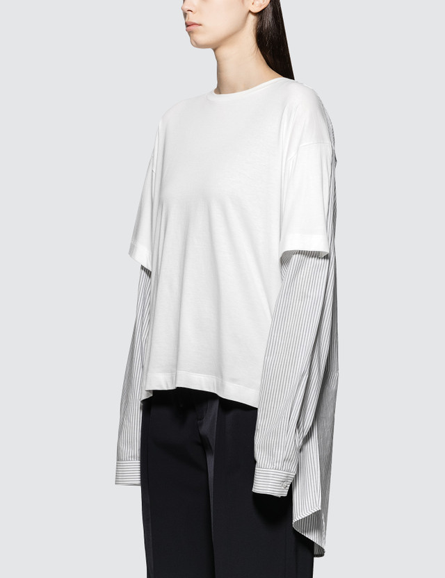 MM6 Maison Margiela Stripe Long Sleeve Shirt with Jersey Patch