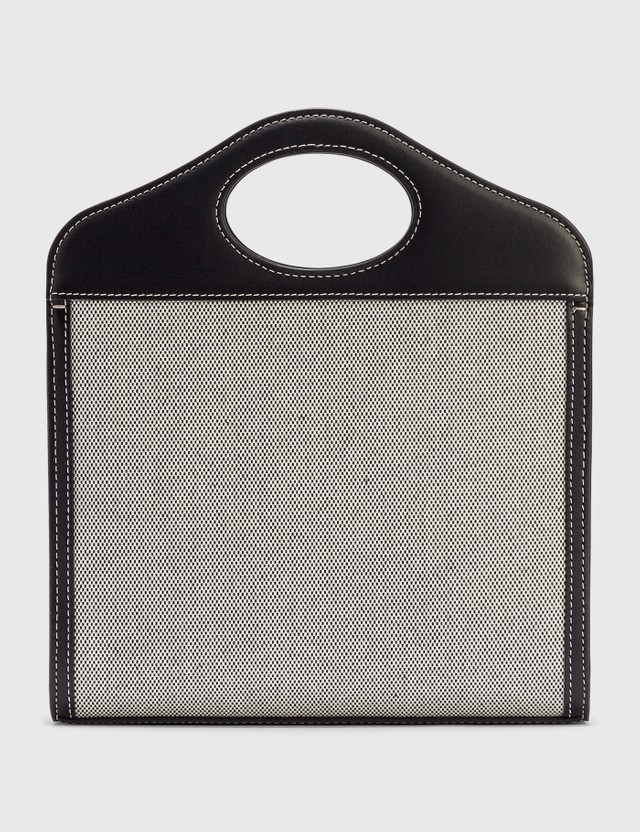 Burberry Mini Two-tone Canvas and Leather Pocket Bag Black/tan Women