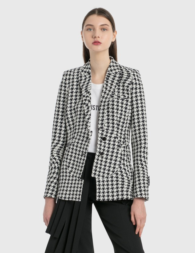 Off-White Houndstooth Circle Fit Jacket Black Whit Women