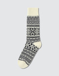 Tabio Men's Wool Large Size Fair Isle Socks Picutre