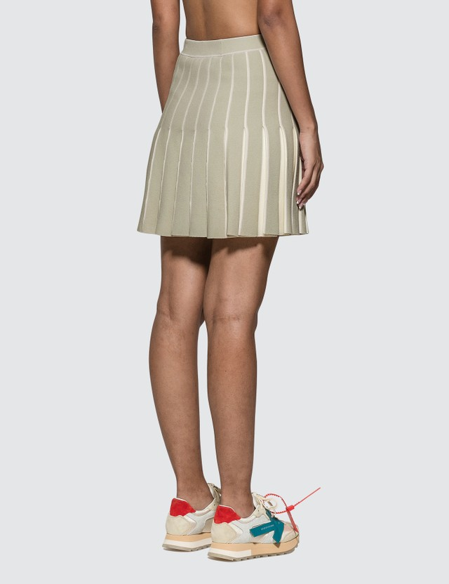 Off-White Knit Swans Mini Skirt Light Green Women
