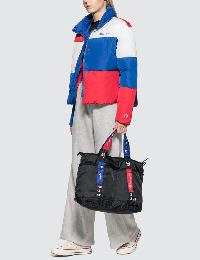 Champion Reverse Weave Color Block Puff Down Jacket Blue/red/white Women