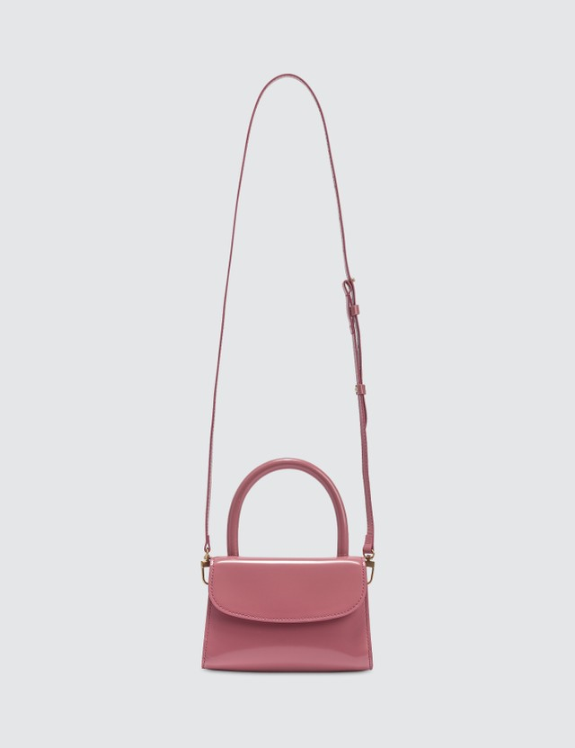 BY FAR Mini Pink Semi Patent Leather Bag