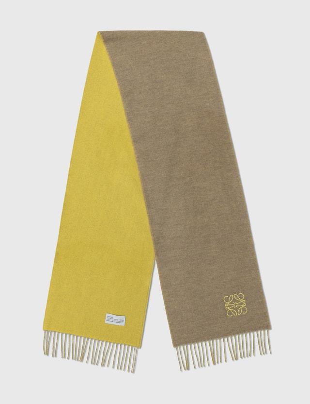 Loewe Bicolor Anagram Scarf Yellow/beige Women