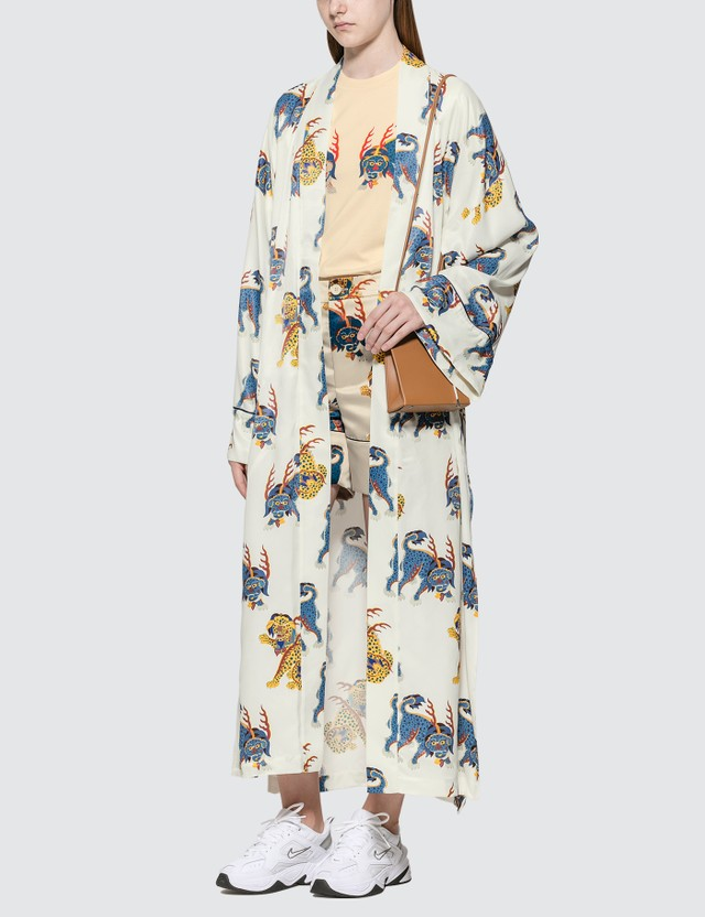 Kirin Haetae Viscose Kimono Robe Egret Multico Women