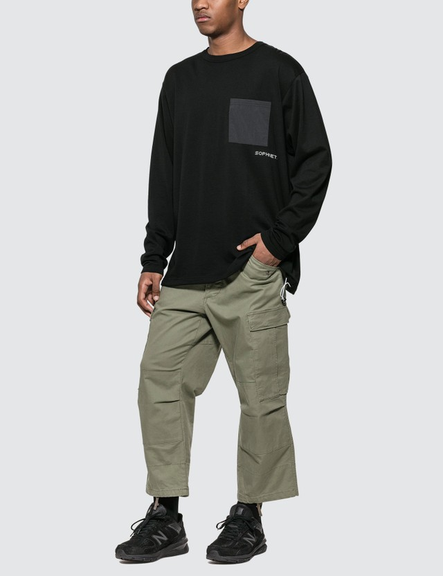 SOPHNET. Hem Code Big Pocket Long Sleeve T-shirt