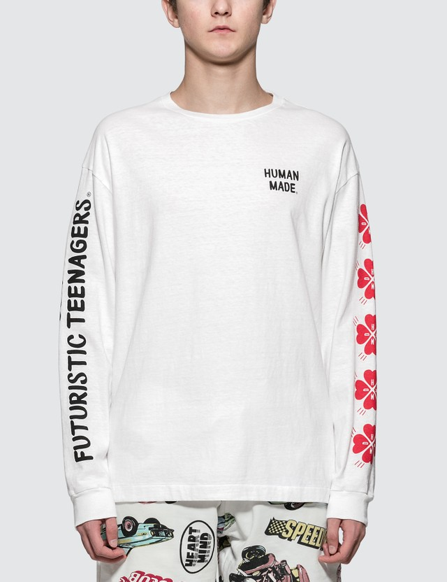 Human Made White Screen Printed sleeve L/S T-Shirt