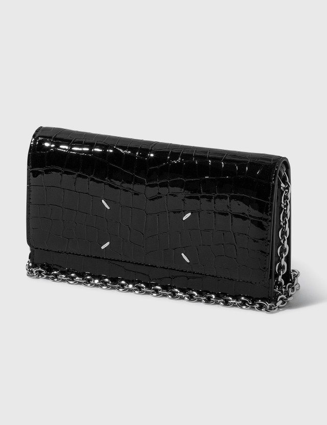 Maison Margiela Embossed Croco Wallet On Chain Black Women