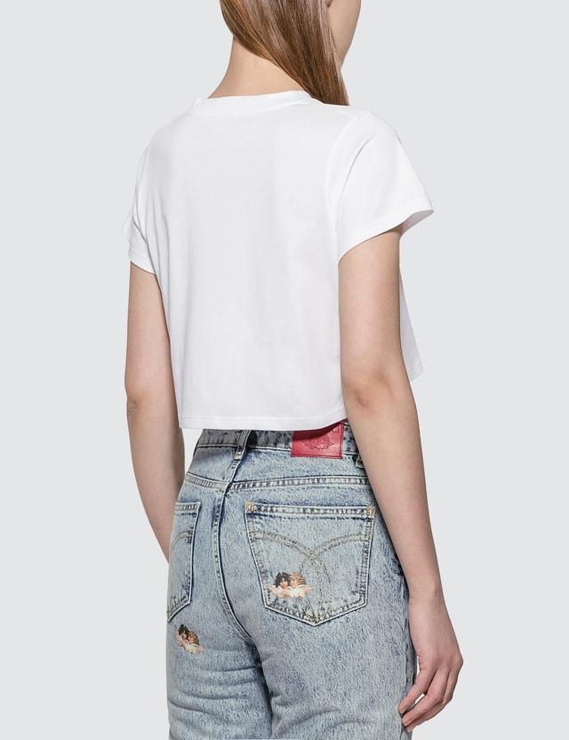 Fiorucci UFO Print Cropped T-shirt White Women